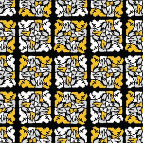 Yellow and Black Stained Glass Geometric Mosaic