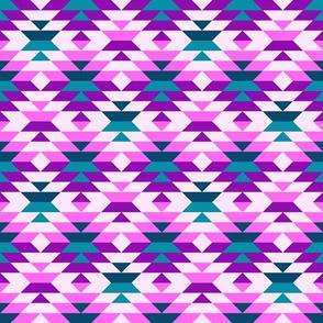 Aztec pink, purple large diamonds Fabric