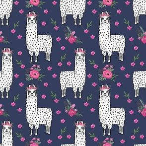 llama floral crown fabric // llamas, alpaca, animals, girls, baby, nursery, sweet animals by andrea lauren - navy