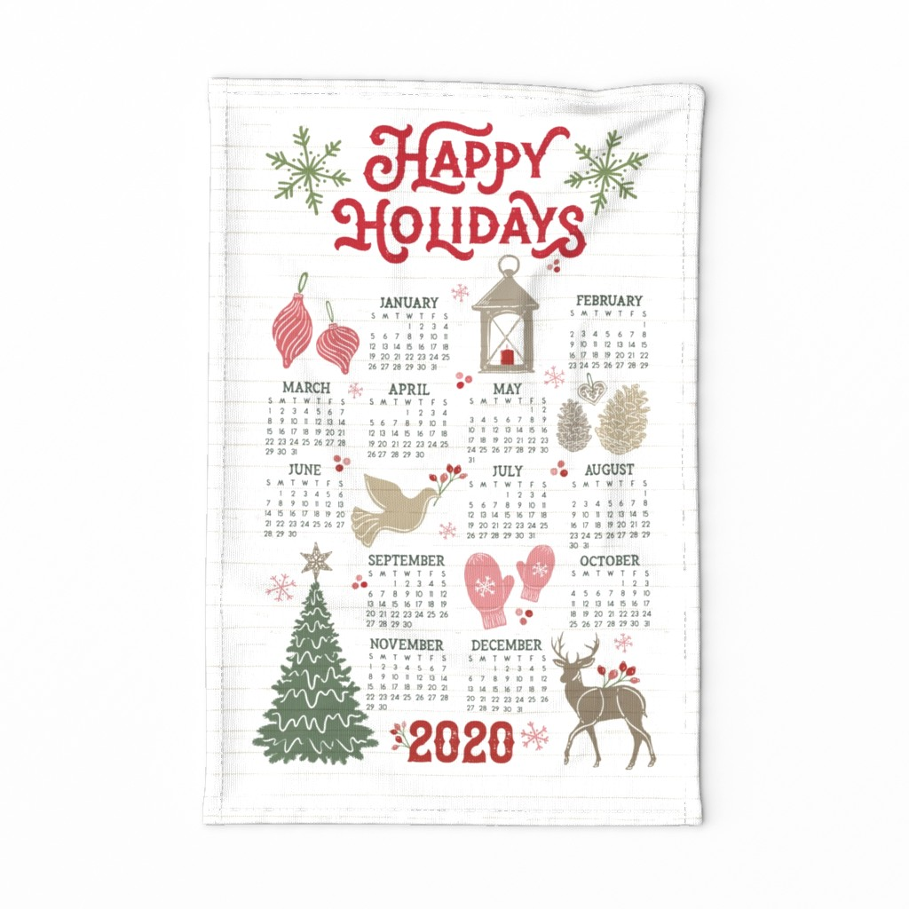 Special Edition Spoonflower Tea Towel featuring 2020 Tea Towel Calendar // Cozy Christmas Traditions // Happy Holidays // Christmas Trees, Carols, Greetings, Mittens, Gingerbread, Gifts, Lantern, Candles, Bird, Reindeer, Star, Crochet by zirkus_design