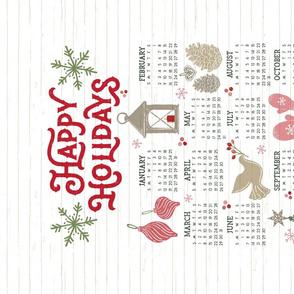 2020 Tea Towel Calendar // Cozy Christmas Traditions // Happy Holidays // Christmas Trees, Carols, Greetings, Mittens, Gingerbread, Gifts, Lantern, Candles, Bird, Reindeer, Star, Crochet