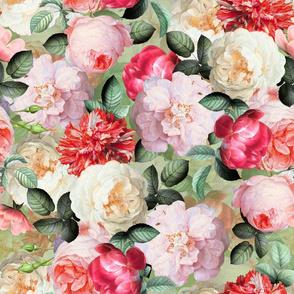 """18"""" Antique Jan Davidsz. de Heem Lush Roses Flowers gold"""