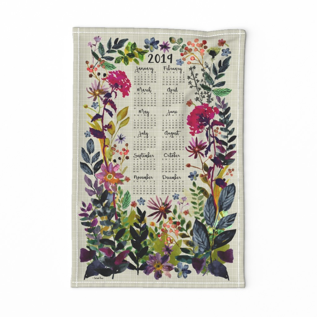 Special Edition Spoonflower Tea Towel featuring 2019 Calendar Tea Towel by sarah_treu