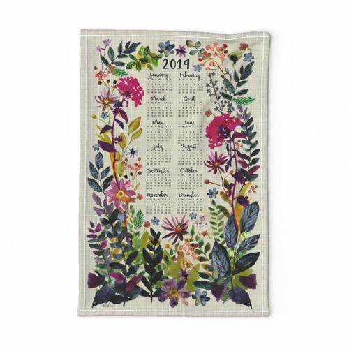 2019 Calendar Tea Towel