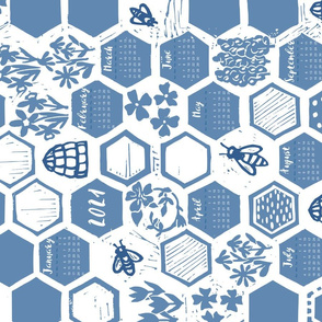 linoprint honeycomb calendar 2021