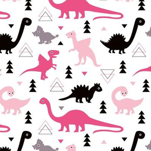 Adorable dino girls fabric with black and pink dinosaur geometric triangles and funky animal illustration theme for kids medium