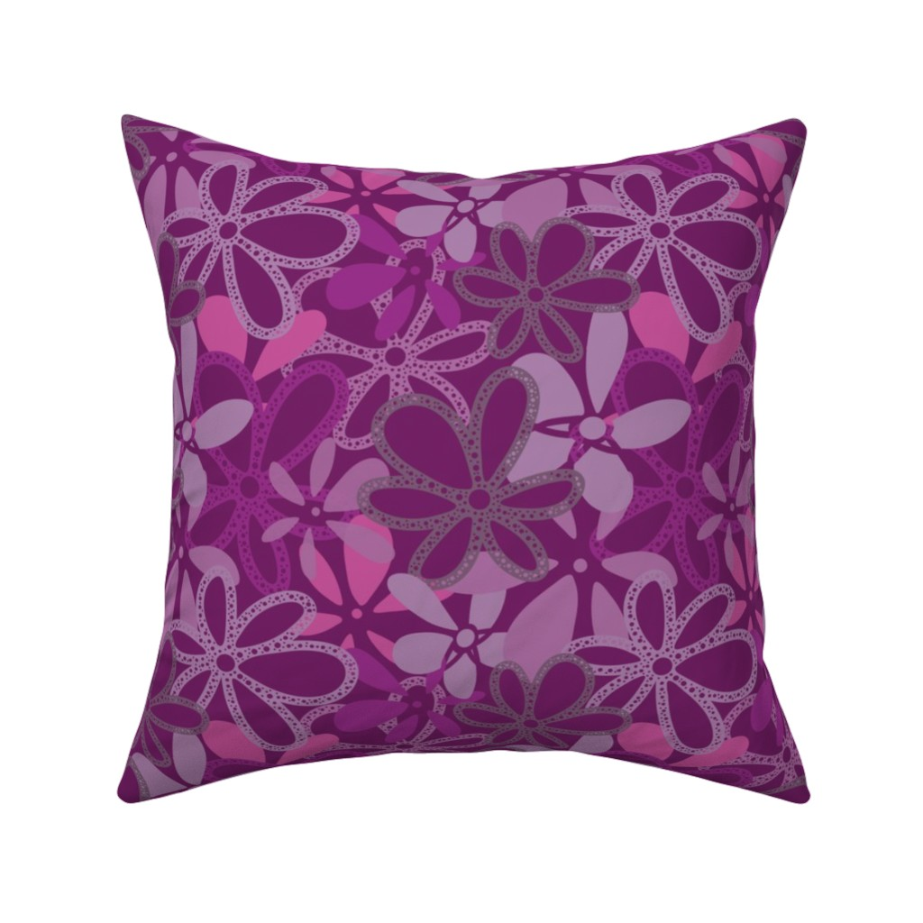 Catalan Throw Pillow featuring Elegant Deep Purple Floral Texture by gaianami