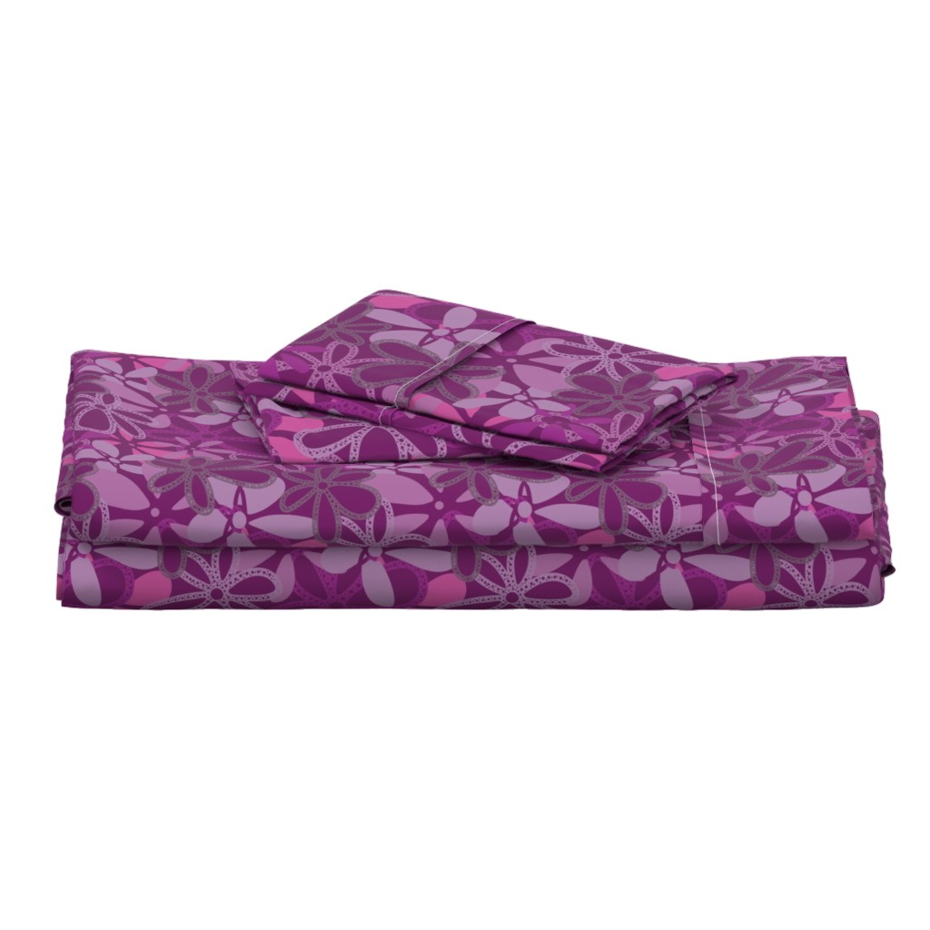 Langshan Full Bed Set featuring Elegant Deep Purple Floral Texture by gaianami
