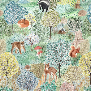 Windermere Woods - highly detailed watercolor forest