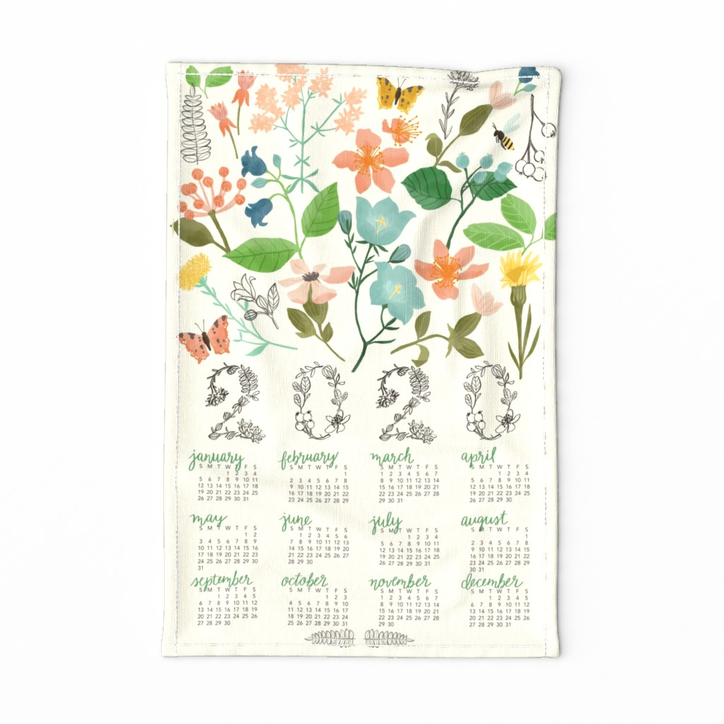 Special Edition Spoonflower Tea Towel featuring Wild Botanica Tea Towel Calendar by katherinelenius