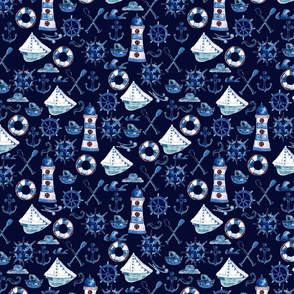 Watercolor Nautical Design - Navy