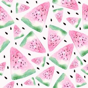 Watercolor watermelon - white