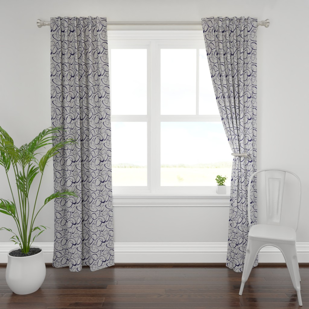 Plymouth Curtain Panel featuring navy blue & white interwoven loops on gray by katz_d_zynes