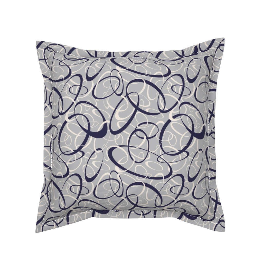 Serama Throw Pillow featuring navy blue & white interwoven loops on gray by katz_d_zynes