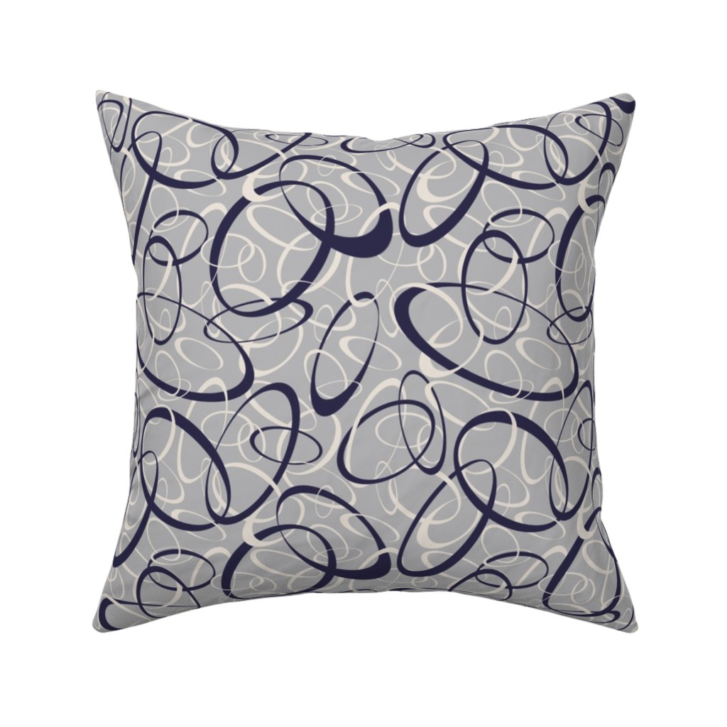 Catalan Throw Pillow featuring navy blue & white interwoven loops on gray by katz_d_zynes