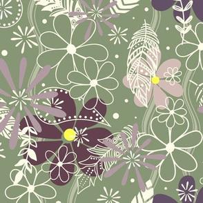 feathers & flowers eggplant plum sage