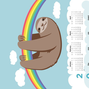Sloth 2020 Calendar - FQ Tea Towel - Rainbow - © Autumn Musick 2019