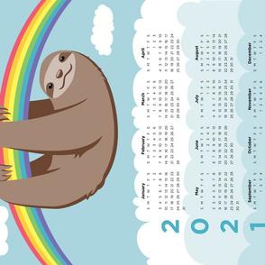 Sloth 2021 Calendar - FQ Tea Towel - Rainbow - © Autumn Musick 2020