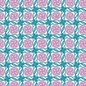 blue rope pink heart tile