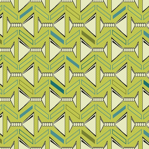 retro martinis tea towel in olive