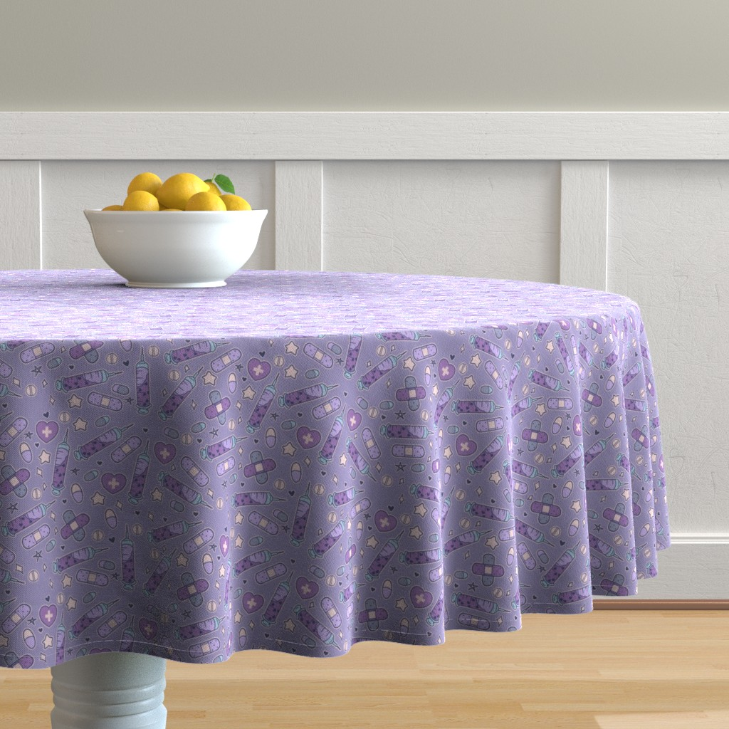 Malay Round Tablecloth featuring Purple Medium Nurse Repeat with Syringes and Bandages by noeldraws
