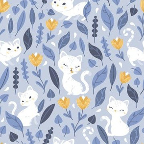 Oh Hello Cats - light blue gold