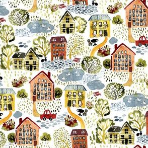 Cozy village landscape in watercolor