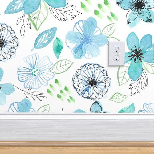 Papier peint fleurs, vert, bleu, Aquarelle, aqua, chambre, noir,  contemporain