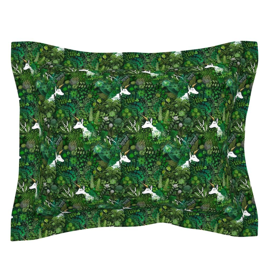 Sebright Pillow Sham featuring Irish Unicorn in a Green Garden by irishvikingdesigns