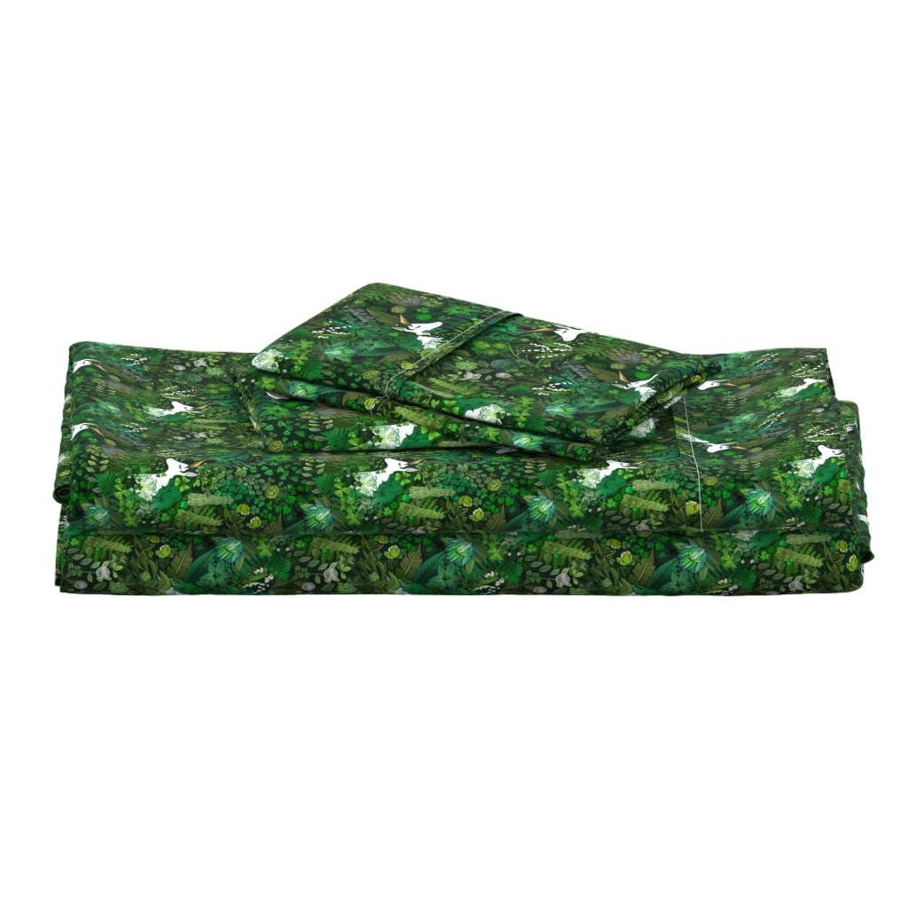 Langshan Full Bed Set featuring Irish Unicorn in a Green Garden by irishvikingdesigns