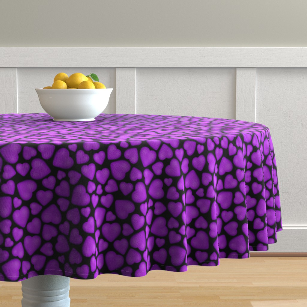 Malay Round Tablecloth featuring pebble hearts purple by katz_d_zynes