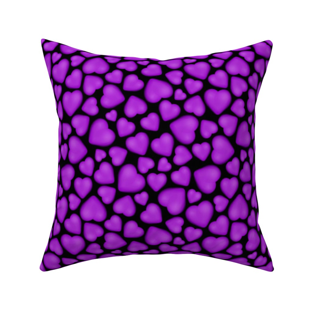 Catalan Throw Pillow featuring pebble hearts purple by katz_d_zynes