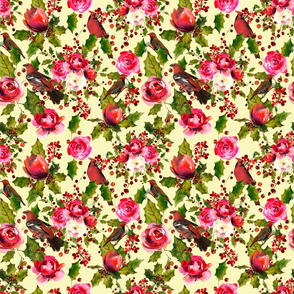 Green Red Watercolor Xmas Pattern