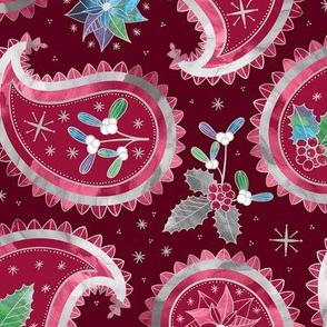 Christmas Paisley Burgundy