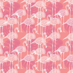 flamingo stamp base lit pink w leavs