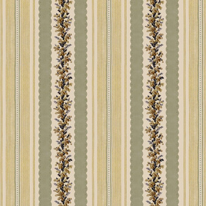 Madame de Lamballe Floral Ticking ~ Automne