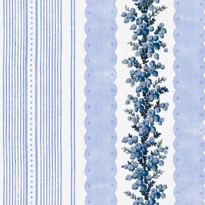 Madame de Lamballe Floral Ticking ~ Hiver ~ Blue and White