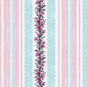 Madame de Lamballe Floral Ticking ~ Printemps