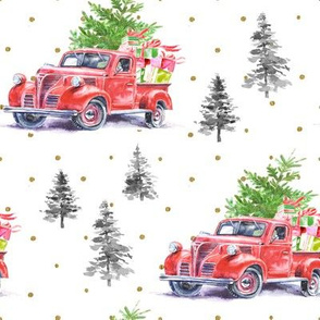 """8"""" Christmas Road Trip with Tree and Presents // Gold Dots"""