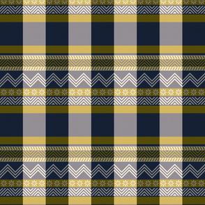 Ornamental zigzag stripe -  stripe - herringbone pattern - navy and bronze