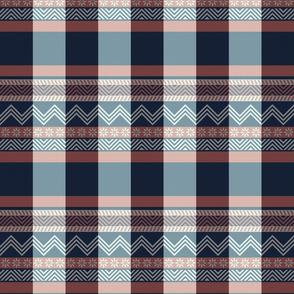 Ornamental zigzag stripe -  stripe - herringbone pattern - navy, coral and white
