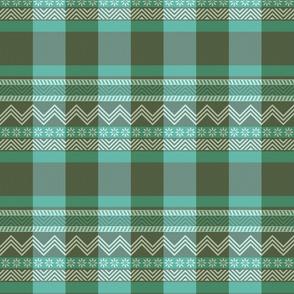 Ornamental zigzag stripe -  stripe - herringbone pattern - teal and olive