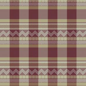 Ornamental zigzag stripe -  stripe - herringbone pattern - burgundy, cream and tan