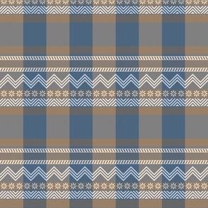 Ornamental zigzag stripe -  stripe - herringbone pattern - denim and mocha