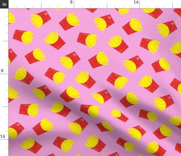 Fabric By The Yard Fries On Pink French Fries