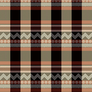 Ornamental zigzag stripe -  stripe - herringbone pattern - red, black, cream and white