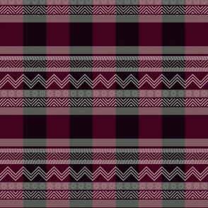 Ornamental zigzag stripe -  stripe - herringbone pattern - maroon, burgundy, grey and white