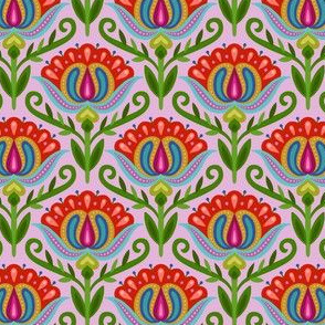 Folk Floral on lavender