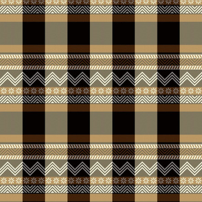 Ornamental zigzag stripe -  stripe - herringbone pattern - brown, black, cream and white