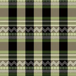 Ornamental zigzag stripe - herringbone pattern - olive, black, cream and white